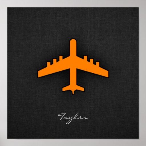 Aeroplano anaranjado poster