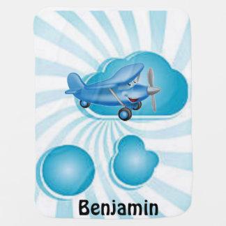 Aeroplano azul del bebé en manta del bebé de las n mantitas para bebé
