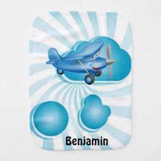 Aeroplano azul del bebé en paño del Burp de las nu Paños Para Bebé