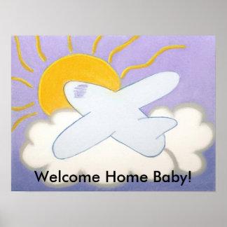 ¡aeroplano, bebé casero agradable! póster