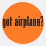 ¿aeroplano conseguido? pegatina redonda