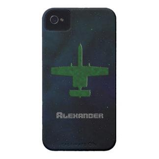 Aeroplano de Camo del verde de la silueta de A-10  iPhone 4 Carcasas