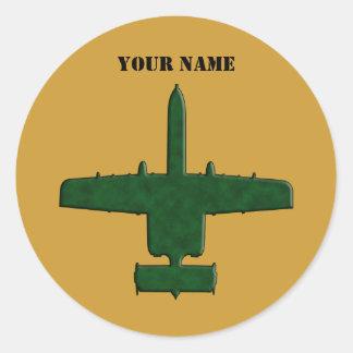 Aeroplano de Camo del verde de la silueta de A-10 Pegatinas Redondas