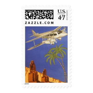 Aeroplano de El Cairo Egipto África del poster del Sello Postal