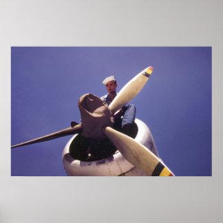 Aeroplano de la marina de guerra PBY del vintage W Póster