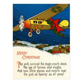 Aeroplano de las Felices Navidad Postales