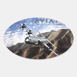 Aeroplano de los militares de C-130 HÉRCULES Pegatina Ovalada