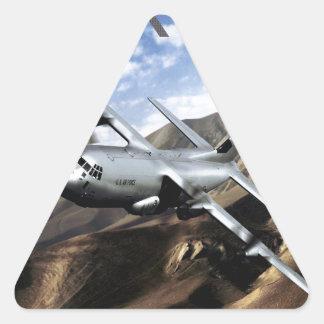 Aeroplano de los militares de C-130 HÉRCULES Pegatina Triangular