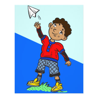 """Aeroplano de papel que vuela del muchacho folleto 8.5"""" x 11"""""""