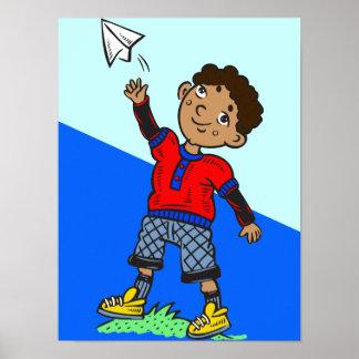 Aeroplano de papel que vuela del muchacho póster