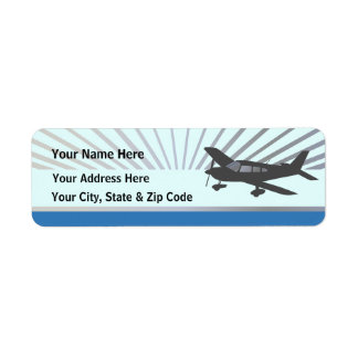 Aeroplano del ala baja etiqueta de remite