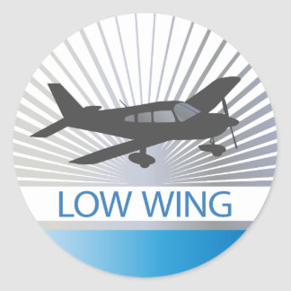 Aeroplano del ala baja pegatina redonda