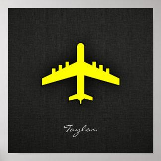 Aeroplano del amarillo amarillo póster