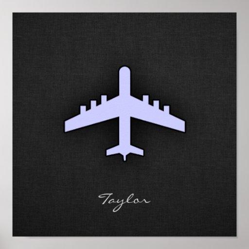 Aeroplano del azul de la lavanda posters