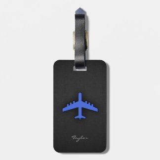 Aeroplano del azul real etiquetas para equipaje