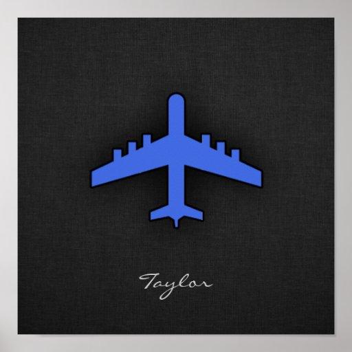 Aeroplano del azul real impresiones