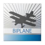 Aeroplano del biplano azulejos ceramicos