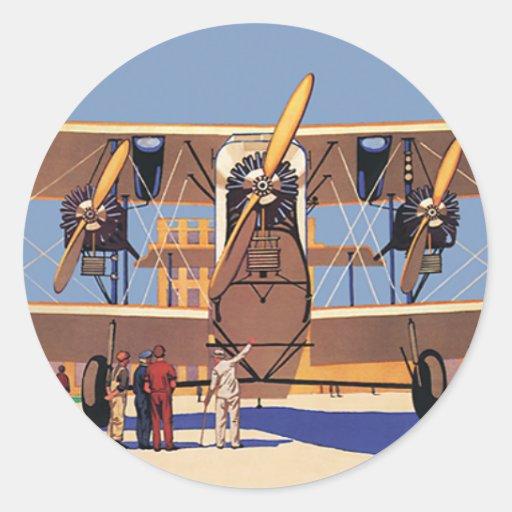 Aeroplano del biplano del viaje y del transporte pegatina redonda