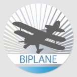 Aeroplano del biplano etiquetas redondas