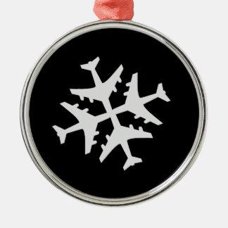 Aeroplano del copo de nieve ornaments para arbol de navidad