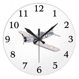 Aeroplano del corsario del ESM F-4U Reloj Redondo Grande