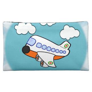 Aeroplano del dibujo animado en nubes con respland