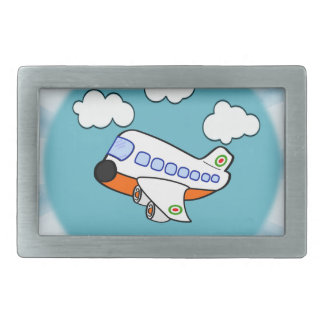 Aeroplano del dibujo animado en nubes con respland hebillas cinturón rectangulares