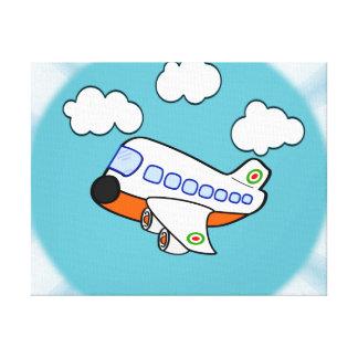 Aeroplano del dibujo animado en nubes con respland lona estirada galerías