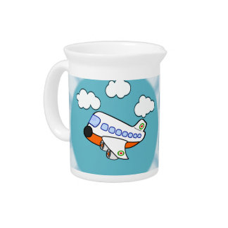 Aeroplano del dibujo animado en nubes con respland jarra de beber