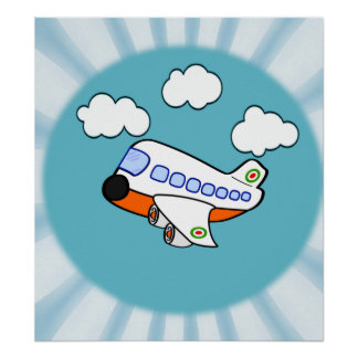 Aeroplano del dibujo animado en nubes con respland póster