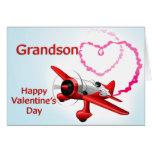 Aeroplano del el día de San Valentín del nieto con Tarjeta De Felicitación