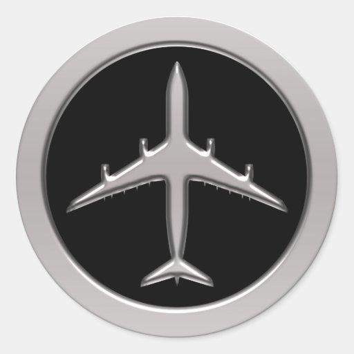 Aeroplano del jet del cromo etiqueta redonda