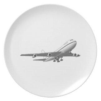 Aeroplano del jet plato para fiesta