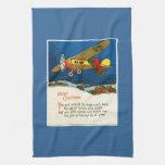 Aeroplano del navidad del vintage toalla