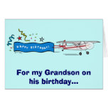 Aeroplano del nieto del feliz cumpleaños felicitacion