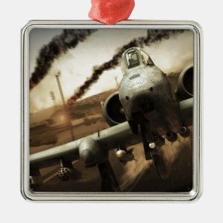 Aeroplano del rayo A-10 Adorno Navideño Cuadrado De Metal