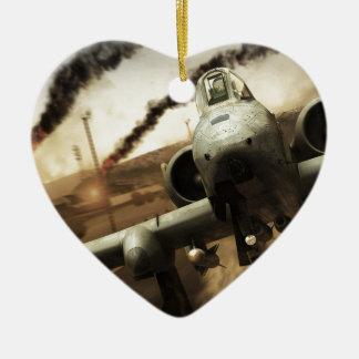 Aeroplano del rayo A-10 Adorno Navideño De Cerámica En Forma De Corazón