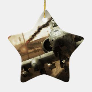 Aeroplano del rayo A-10 Adorno Navideño De Cerámica En Forma De Estrella