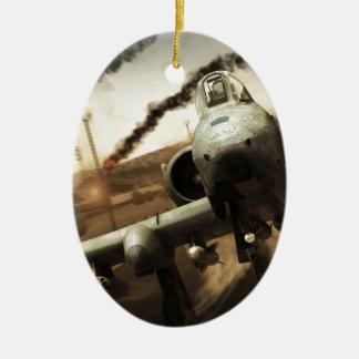 Aeroplano del rayo A-10 Adorno Navideño Ovalado De Cerámica