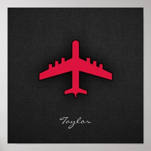 Aeroplano del rojo carmesí impresiones