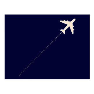 aeroplano del viaje con la línea de puntos postales