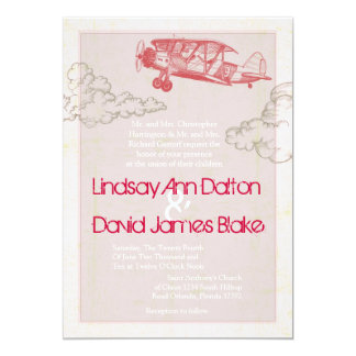 aeroplano del vintage de la invitación del boda