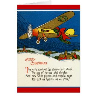 Aeroplano del vintage de las Felices Navidad Tarjeta De Felicitación