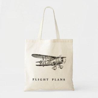 Aeroplano del vintage, planes de vuelo bolsa lienzo