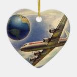 Aeroplano del vintage que vuela en todo el mundo e
