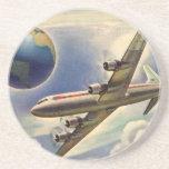 Aeroplano del vintage que vuela en todo el mundo e posavasos personalizados