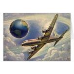 Aeroplano del vintage que vuela en todo el mundo e tarjetón