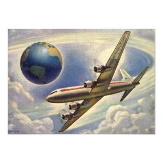 Aeroplano del vintage que vuela en todo el mundo invitaciones personalizada