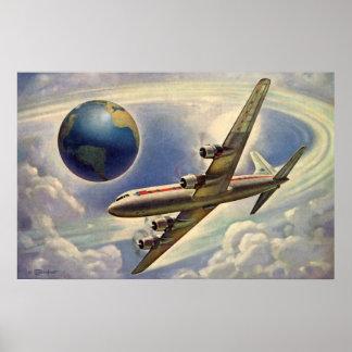 Aeroplano del vintage que vuela en todo el mundo póster