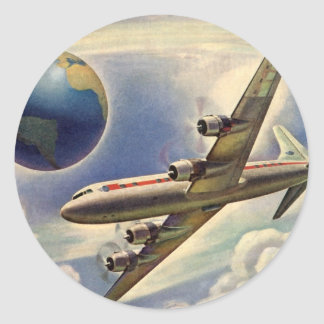 Aeroplano del vintage que vuela en todo el mundo pegatinas redondas